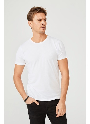 Avva A02B1171 Bisiklet Yaka Düz Modal T-Shirt A02B1171 Beyaz